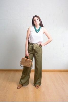528ARTE522_62-S - Pantalón largo liso con cinturón GIOVANNA
