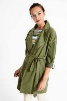 518TENC421_62-S - Long sleeve jacket TRENCH VERDE MILITAR